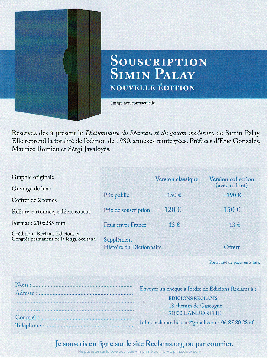 Bulletin de soscripcion Palay
